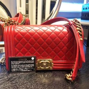 Chanel le boy distressed calfskin re gold